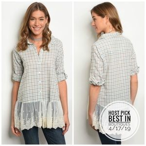 3 FOR $40 • Checkered Button Down w/Lace Trim